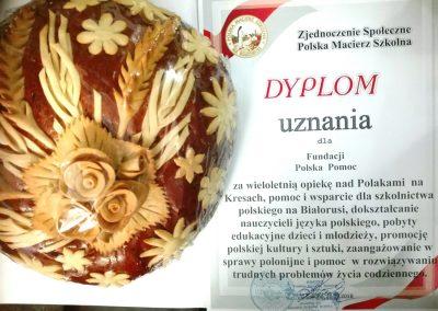 Otrzymaliśmy dyplom oraz korowaj od Polskiej Macierzy Szkolnej w Grodnie